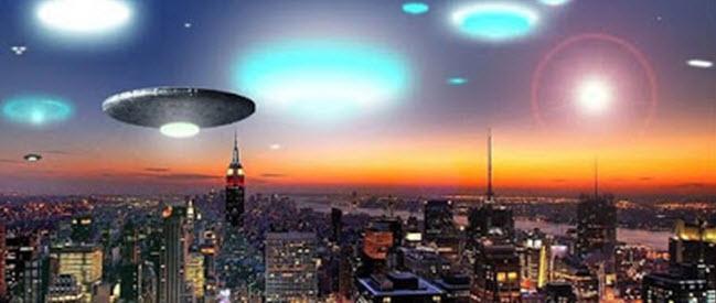 ufo lights over a city